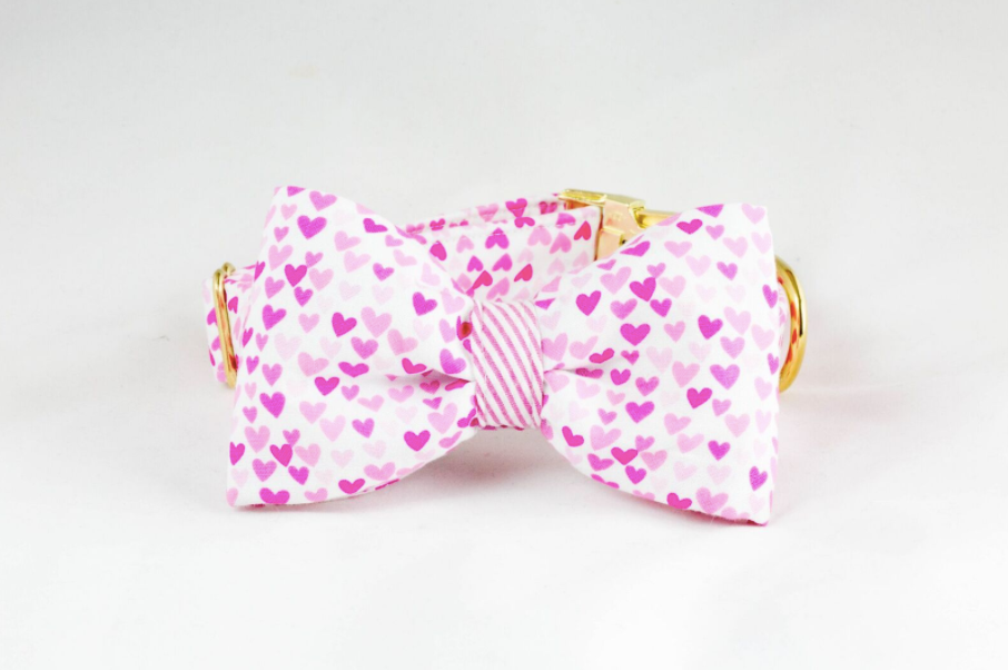 Preppy Pup Pink Seersucker and Hearts Valentine's Day Dog Bow Tie Collar