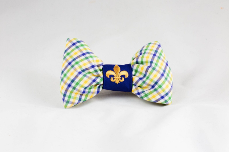 Mardi Gras Gingham Dog Bow Tie with Fleur de Lis