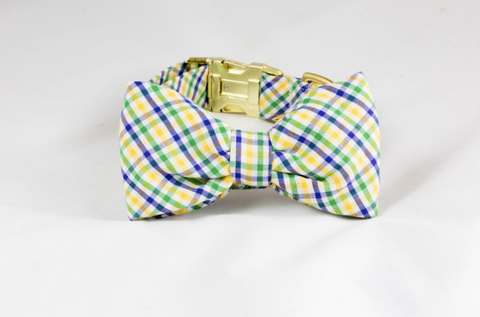 Mardi Gras Gingham Dog Bow Tie Collar
