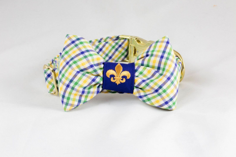 Preppy Mardi Gras Gingham Dog Bow Tie Collar With Fleur de Lis