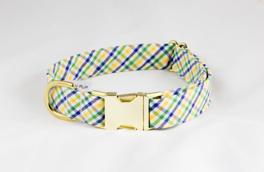 Mardi Gras Gingham Dog Collar
