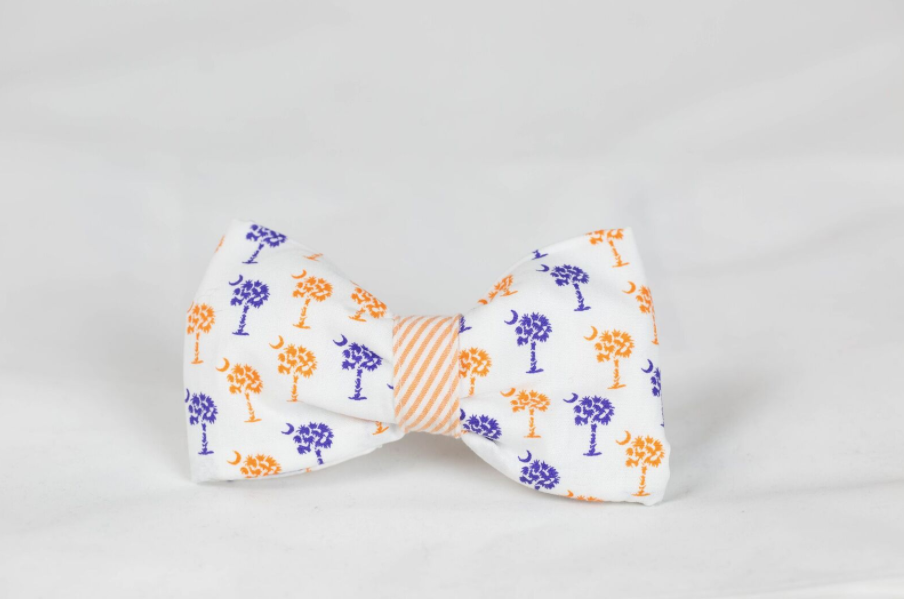 Purple and Orange Clemson Tigers Palmetto Palm Tree Seersucker Game Day Dog Bow Tie