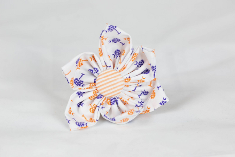 Purple and Orange Clemson Tigers Palmetto Palm Tree Seersucker Game Day Girl Dog Flower Bow Tie
