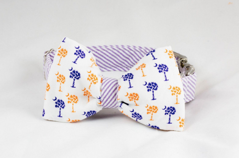 Purple and Orange Clemson Tigers Palmetto Palm Tree Seersucker Game Day Dog Bow Tie Collar