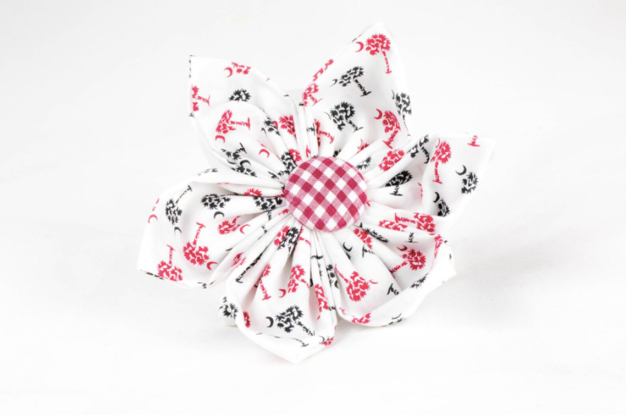 Gamecocks Garnet and Black Gingham Palmetto Palm Tree Game Day Girl Dog Flower Bow Tie