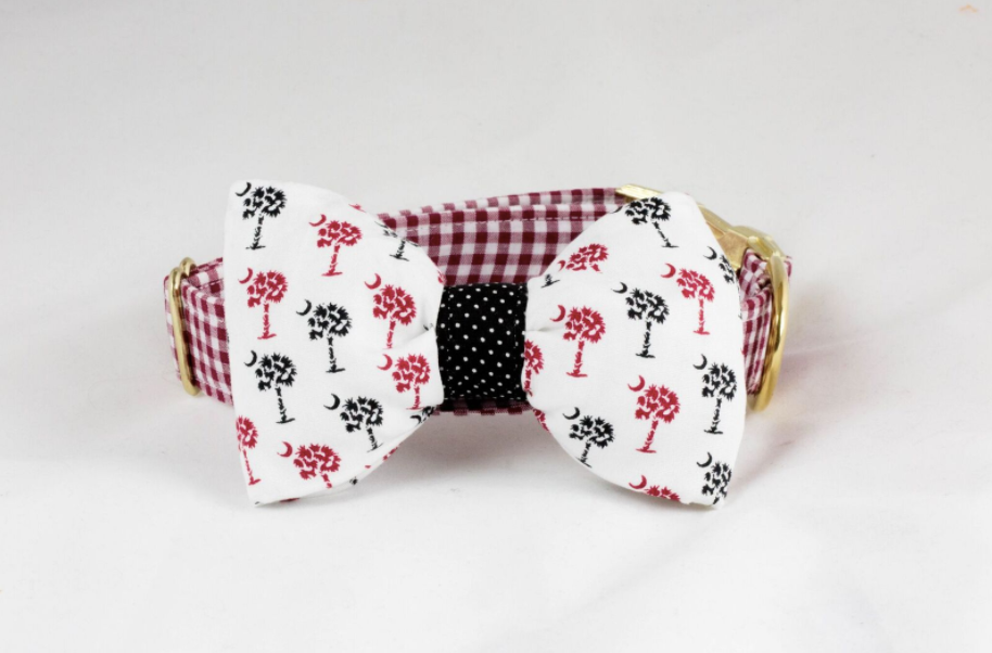 Gamecocks Garnet and Black Gingham Palmetto Palm Tree Game Day Dog Bow Tie Collar