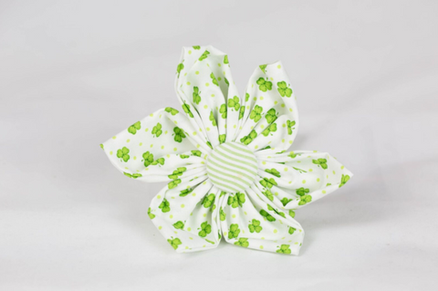 Luck of the Irish St. Patrick's Day Green Seersucker Clover Girl Dog Flower Bow Tie