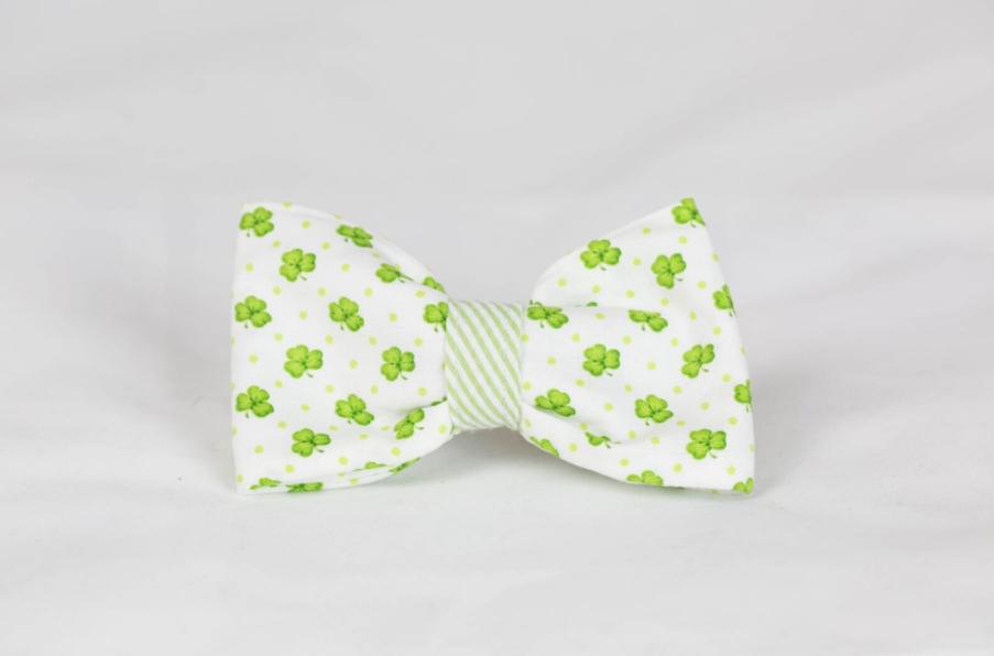Luck of the Irish St. Patrick's Day Green Seersucker Clover Dog Bow Tie