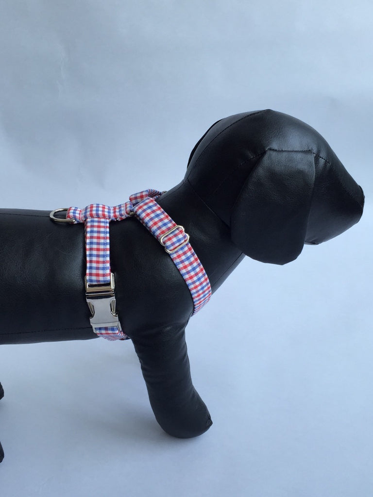 Preppy Red White and Blue Gingham Dog Harness