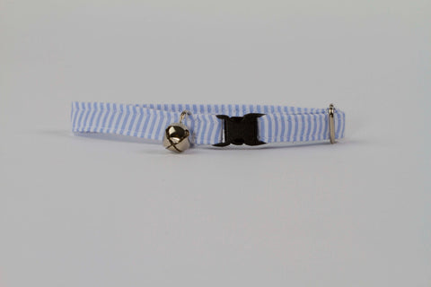 Preppy Blue Seersucker Kitty Cat Collar