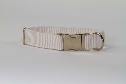 Preppy Khaki Seersucker Dog Collar