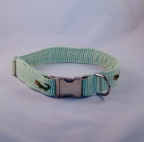 Preppy Green Alligator Seersucker Dog Collar