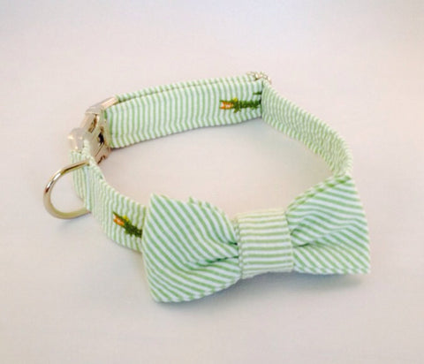Preppy Green Alligator Seersucker Bow Tie Dog Collar