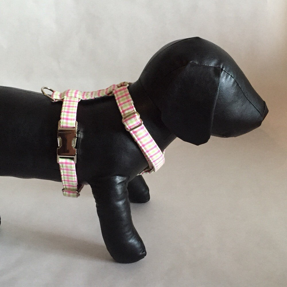 Preppy Pink and Green Gingham Dog Harness