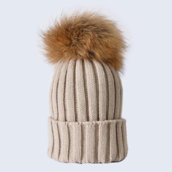 TINY OATMEAL POM POM HAT 0-3YRS
