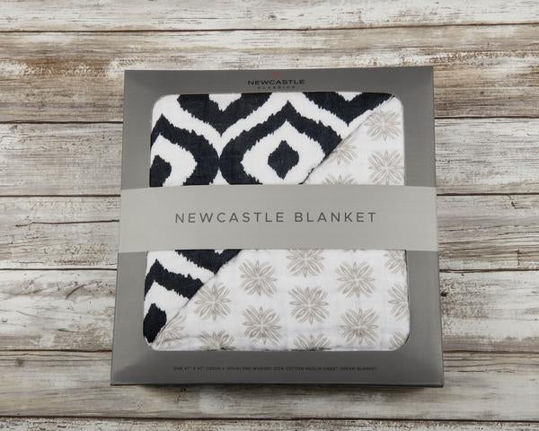 NEWCASTLE CLASSICS - MOROCCAN BLUE AND TRAVELER DOT NEWCASTLE BLANKET