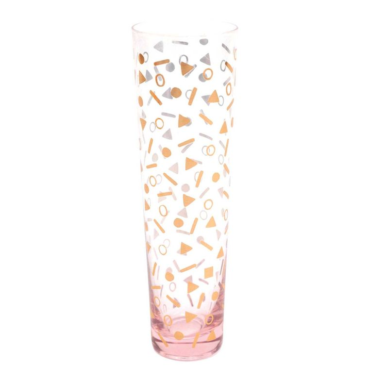 PINK STEMLESS FLUTE, CONFETTI