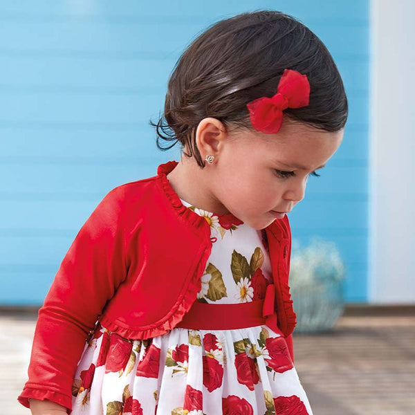 MAYORAL RED RUFFLED CARDIGAN