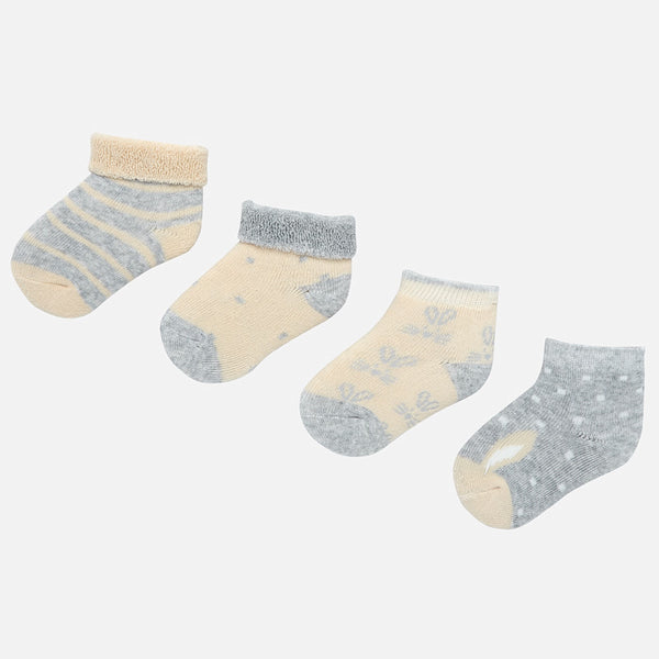 MAYORAL SOCKS NEWBORN BABY BOY 4PC - STEEL