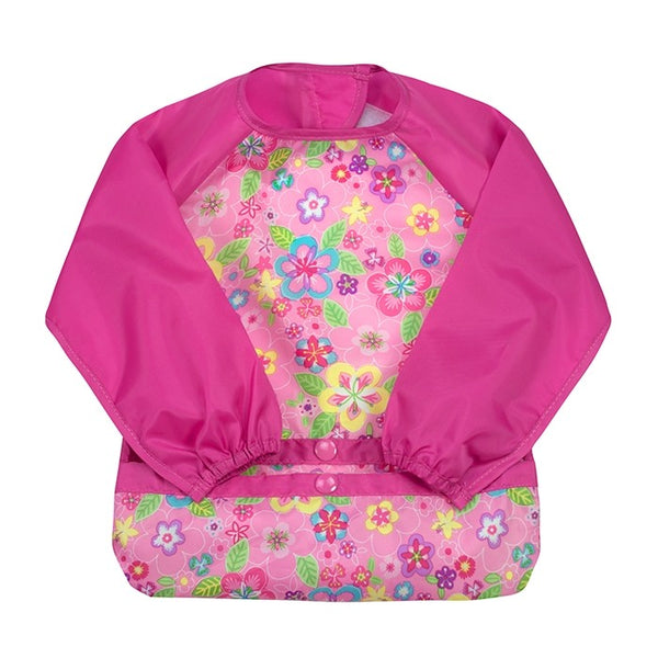 GREEN SPROUTS SNAP & GO EASY WEAR LONG SLEEVE BIB - PINK FLOWERS
