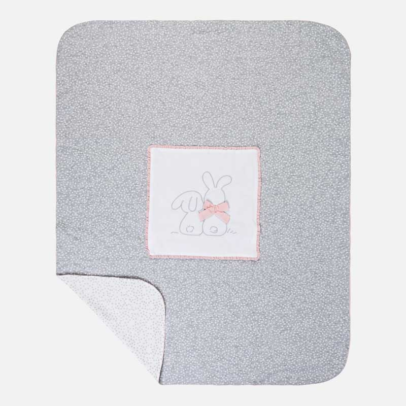 MAYORAL EMBROIDERED BUNNY JERSEY BLANKET