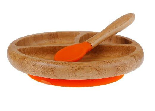 AVANCHY - BAMBOO SUCTION BABY PLATE + SPOON - ORANGE