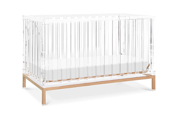 NURSERY WORKS LUMA CRIB IN ACRYLIC AND ROSE GOLD