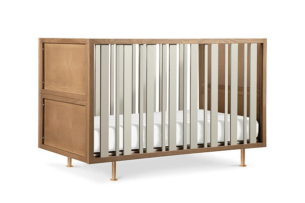 NURSERY WORKS NOVELLA CRIB W/ TODDLER CONVERSION KIT IN STAINED ASH/IVORY