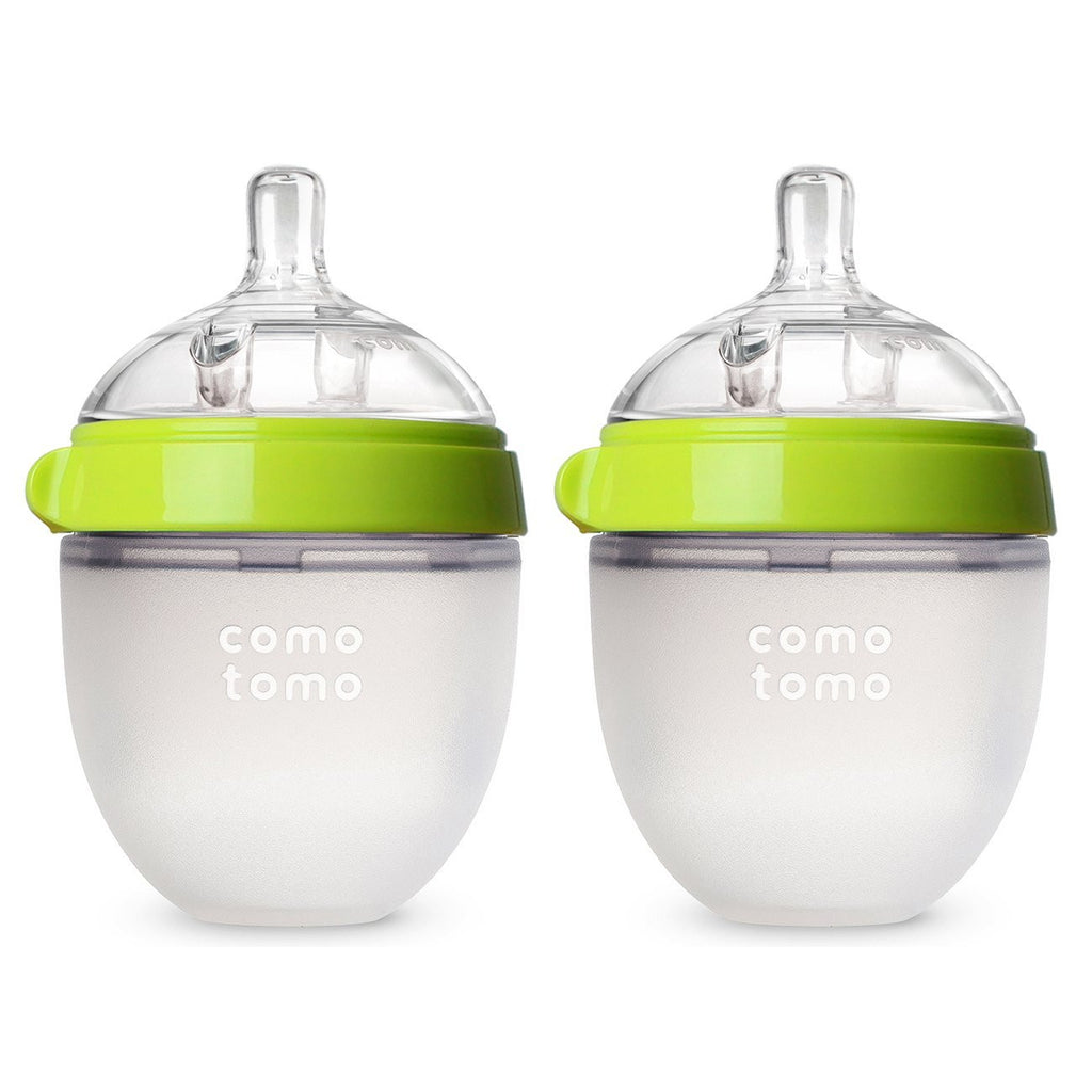 COMOTOMO BABY BOTTLE 5OZ GREEN DOUBLE PACK