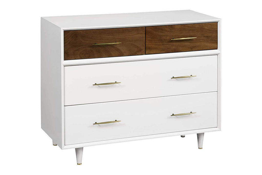 BABYLETTO EERO 4-DRAWER DRESSER IN WHITE/NATURAL WALNUT