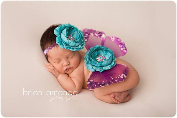 Sweet Ella's Boutique - Turquoise and Purple Butterfly Wings Photo Prop