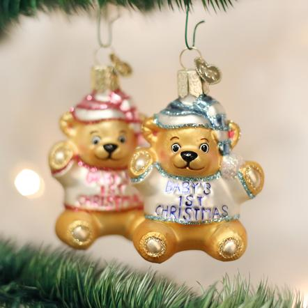 BABY'S FIRST TEDDY BEAR CHRISTMAS ORNAMENT