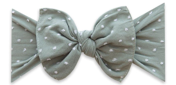 BABY BLING PATTERN SHABBY KNOT HEADBAND: SHABBY GREY DOT