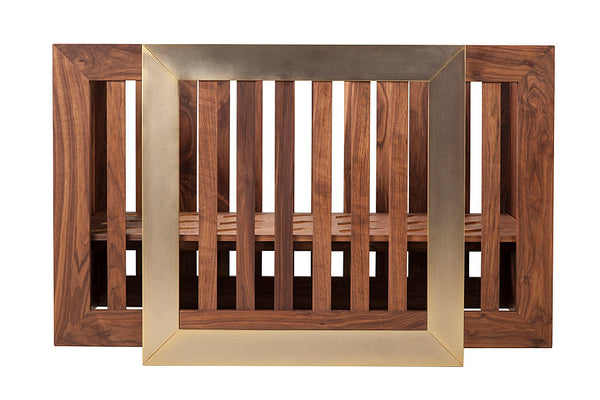 NURSERY WORKS LYDIAN CRIB IN WALNUT FINISH W/ 24K GOLD