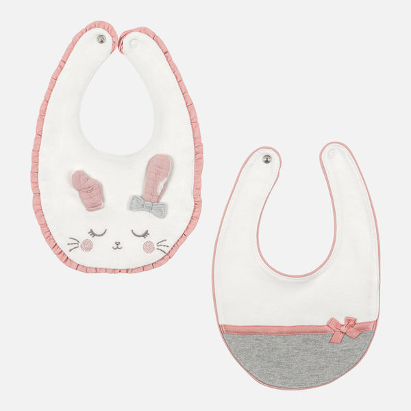 MAYORAL 2 BIBS SET PINK/STEEL