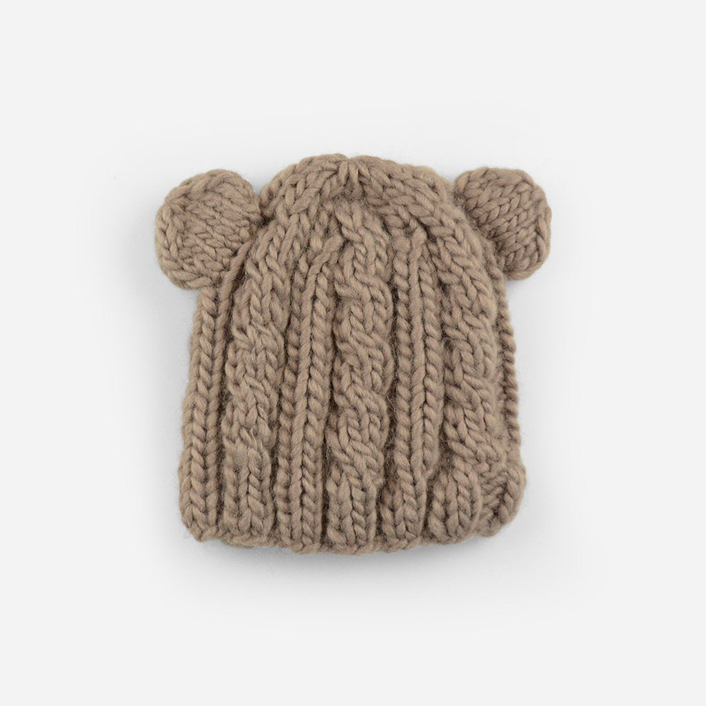 BROWN JULIAN CABLE BEAR KNIT HAT - M