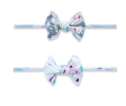 BABY BLING 2PK MINI PRINT SKINNY BOW: SOFT FLORAL