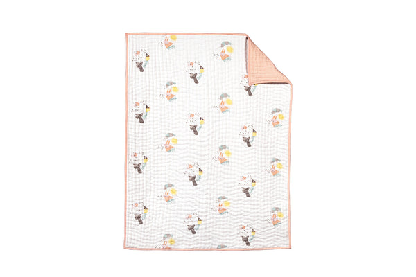 NURSERY WORKS MENAGERIE ORGANIC COTTON HAND QUILTED BLANKET