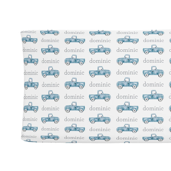 SUGAR + MAPLE CHANGING PAD COVER - TRUCK BLUE