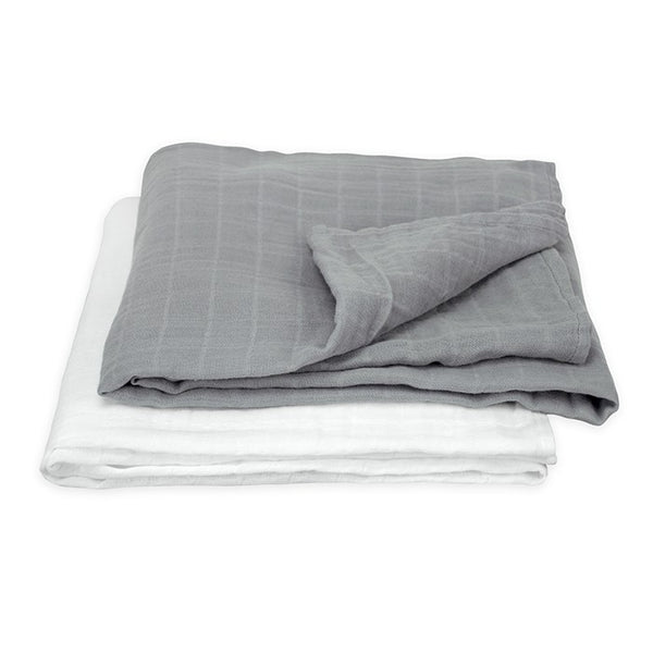 GREEN SPROUTS MUSLIN SWADDLE BLANKETS GREY 44X44 IN