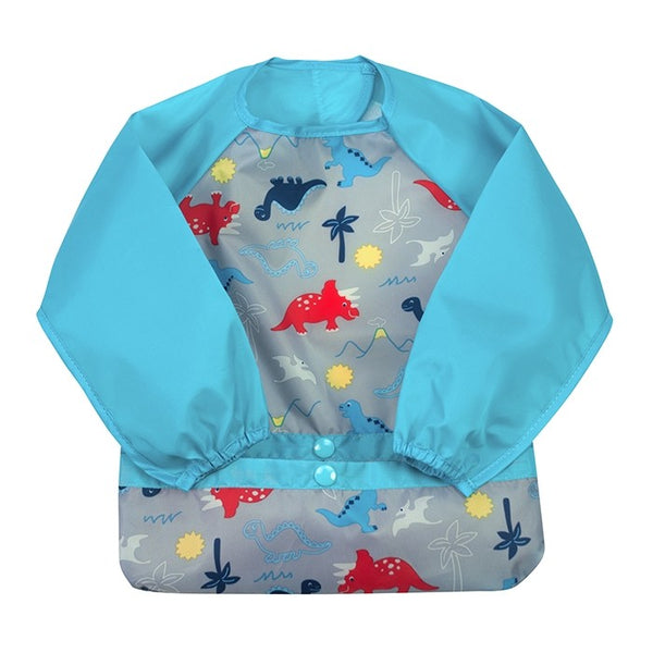 GREEN SPROUTS SNAP & GO EASY WEAR LONG SLEEVE BIB - AQUA DINOSAURS
