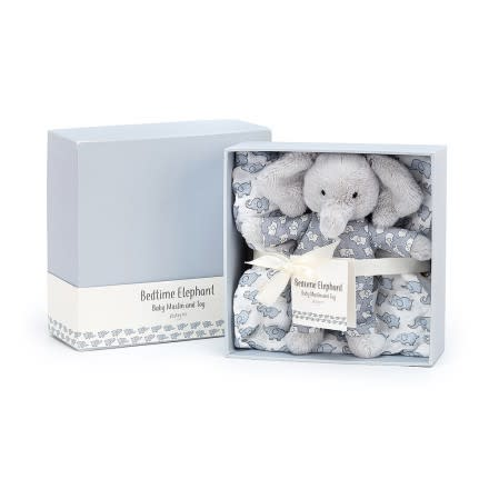 BEDTIME ELEPHANT MUSLIN AND TOY SET