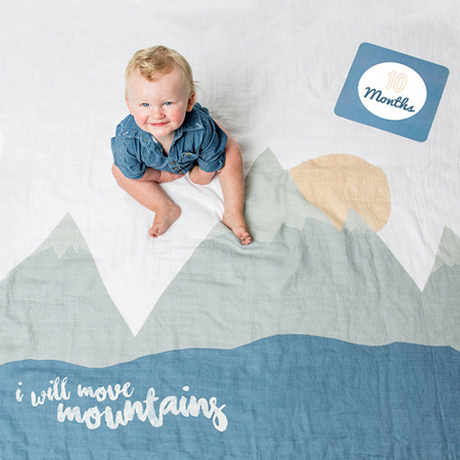I WILL MOVE MOUNTAINS BABY'S FIRST YEAR BLANKET AND CARD SET