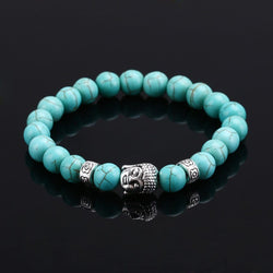 Natural Stone Bead Buddha Bracelets (Turquoise, Black Lava, Brown and White)