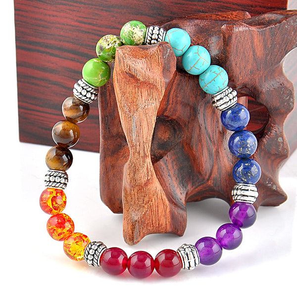 7 Chakra Bracelet with Mixed Healing Crystals