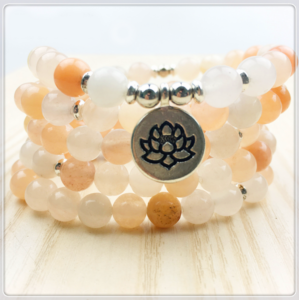 Pink Aventurine 108 Mala Yoga Bracelet or Necklace