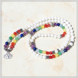 7 Chakra White Bead 108 Mala Bracelet with Lotus Charm