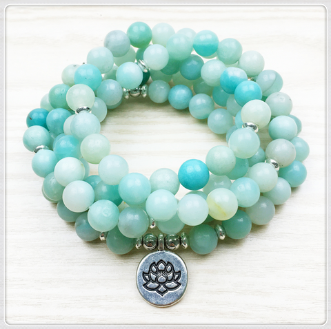Amazonite 108 Beads Mala Bracelet or Necklace
