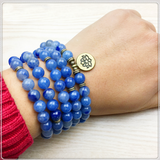 Blue Aventurine Quartz 108 Mala Bracelet or Necklace