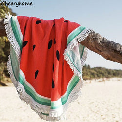 Round Watermelon Microfiber Beach Throw